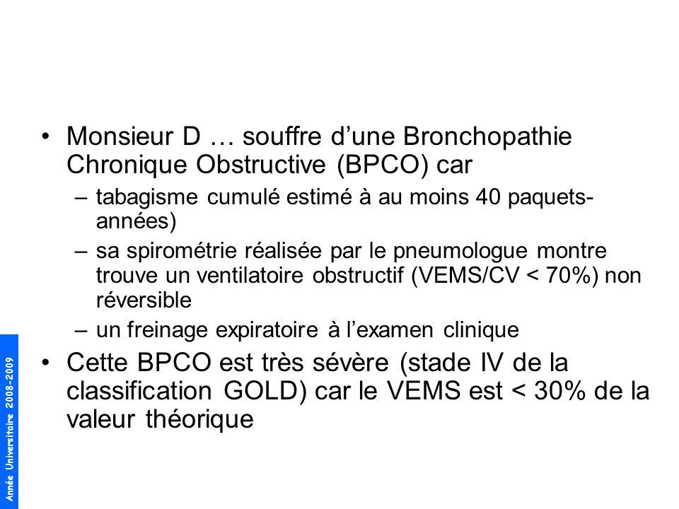 Monsieur D … souffre d'une Bronchopathie Chronique Obstructive (BPCO) car