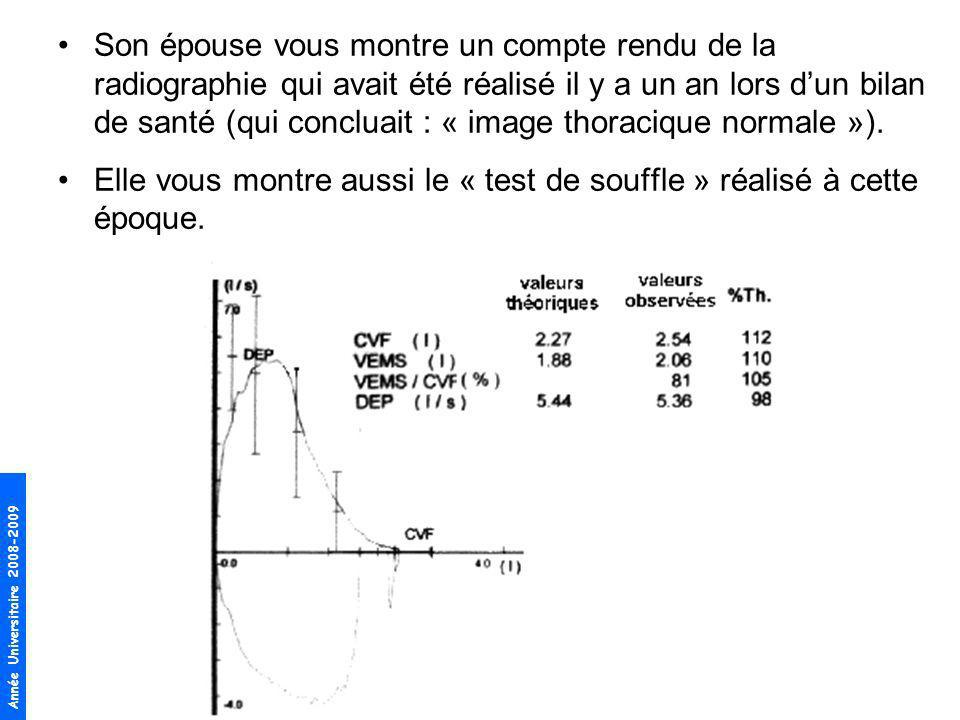 Son épouse vous montre un compte rendu de la radiographie qui avait été réalisé il y a un an lors d'un bilan de santé (qui concluait : « image thoracique normale »).