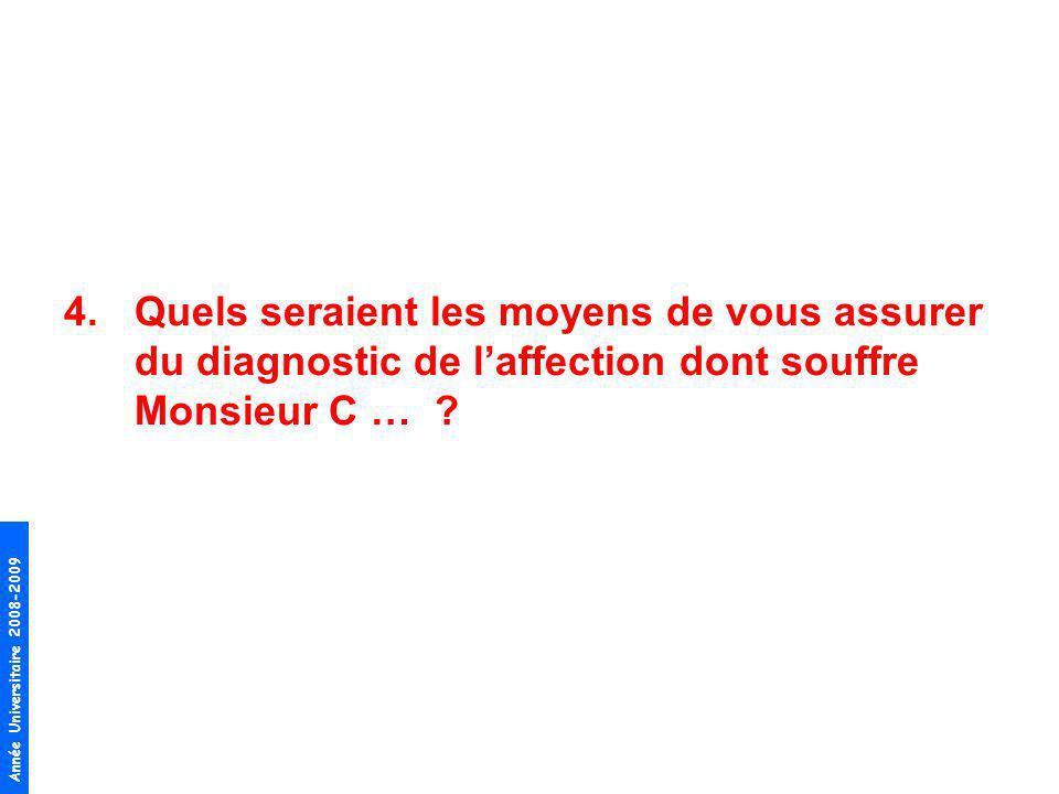 Quels seraient les moyens de vous assurer du diagnostic de l'affection dont souffre Monsieur C …