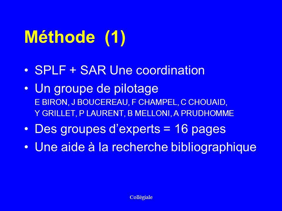 Méthode (1) SPLF + SAR Une coordination Un groupe de pilotage