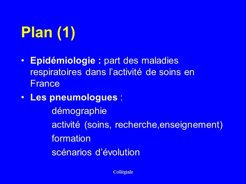 Plan (1) Epidémiologie : part des maladies respiratoires dans l'activité de soins en France Les pneumologues :