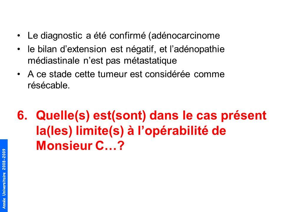 Le diagnostic a été confirmé (adénocarcinome