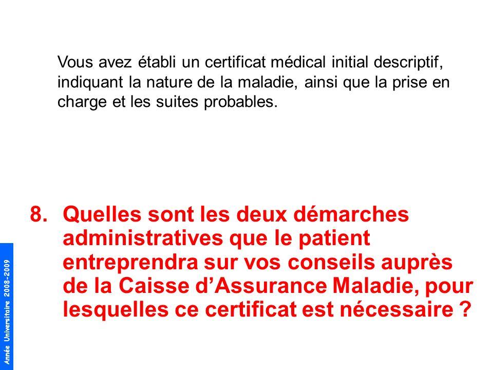 Vous avez établi un certificat médical initial descriptif, indiquant la nature de la maladie, ainsi que la prise en charge et les suites probables.