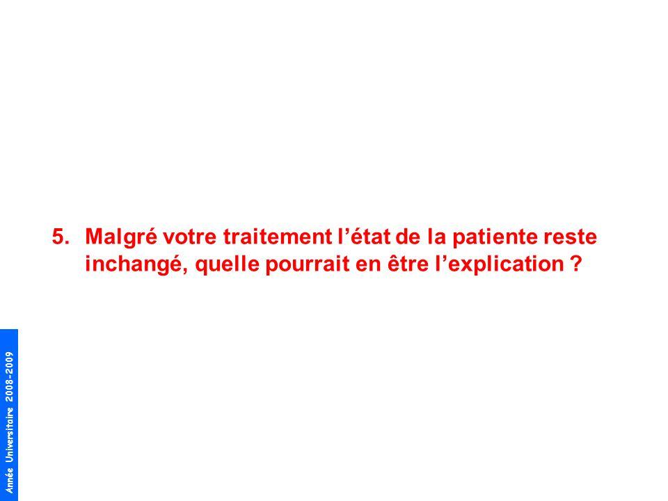 Malgré votre traitement l'état de la patiente reste inchangé, quelle pourrait en être l'explication
