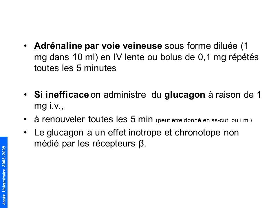 Adrénaline par voie veineuse sous forme diluée (1 mg dans 10 ml) en IV lente ou bolus de 0,1 mg répétés toutes les 5 minutes
