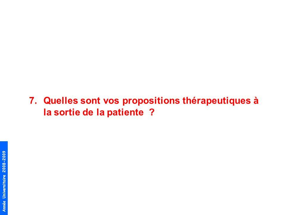 Quelles sont vos propositions thérapeutiques à la sortie de la patiente