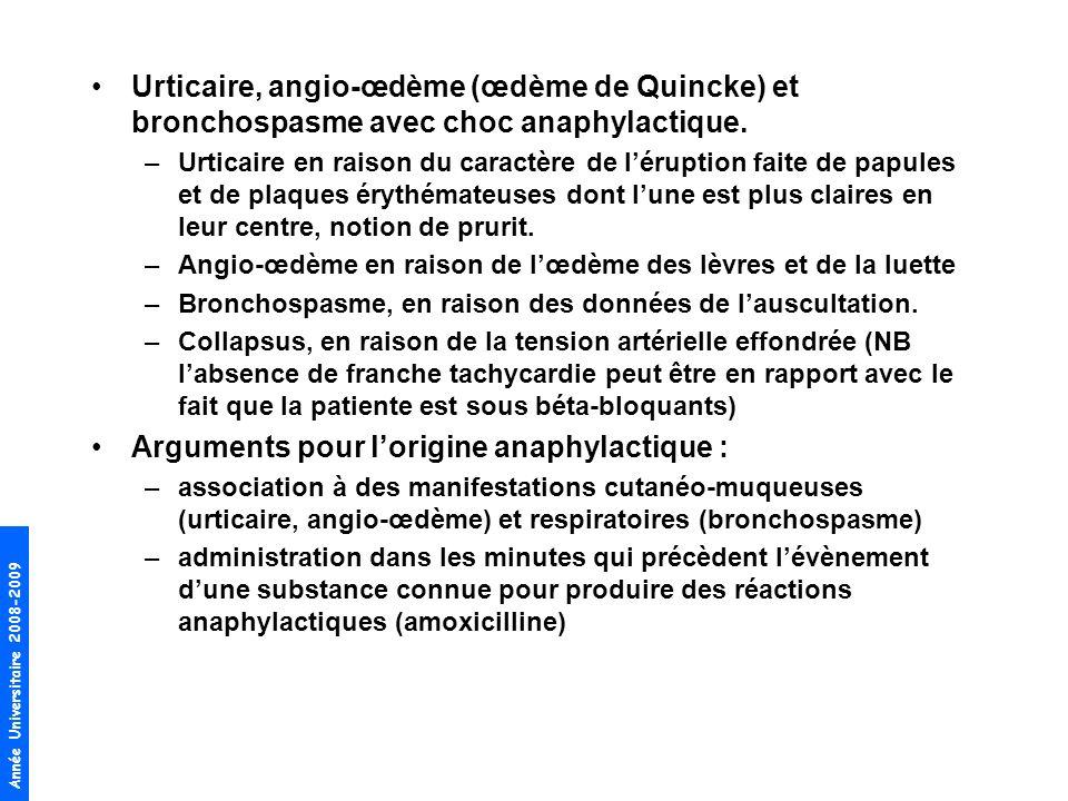 Arguments pour l'origine anaphylactique :
