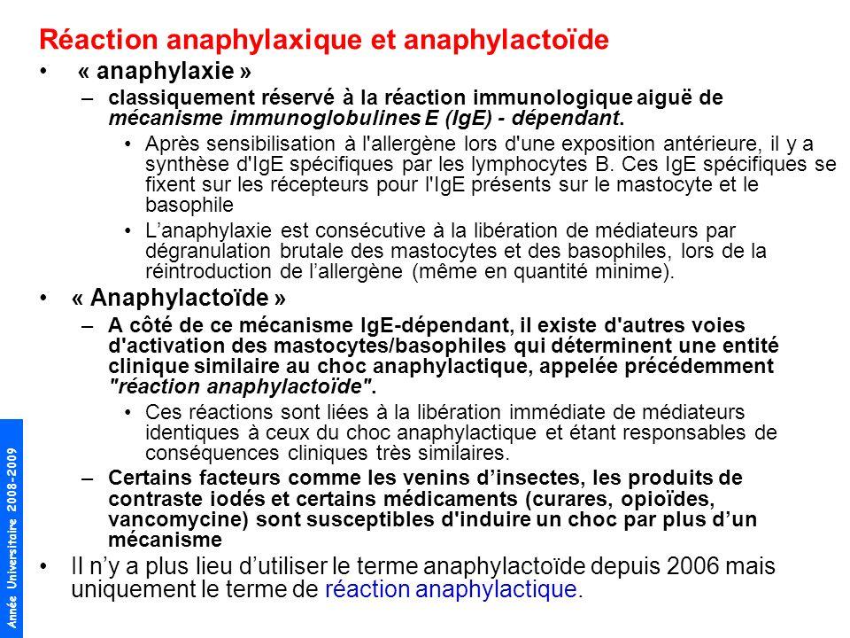 Réaction anaphylaxique et anaphylactoïde