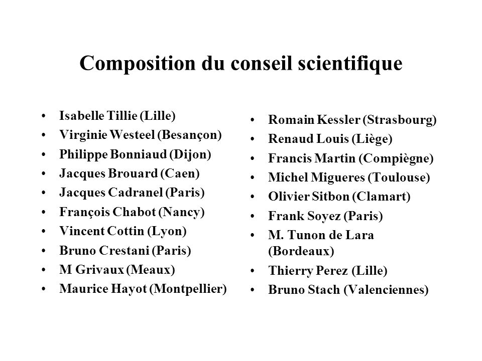 Composition du conseil scientifique