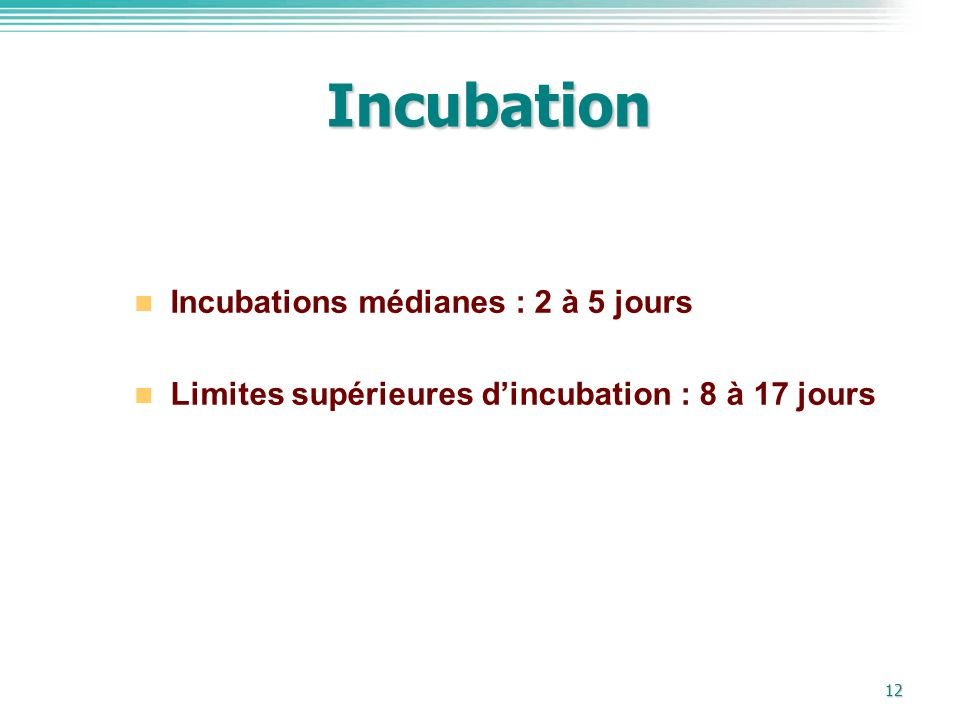 Incubation Incubations médianes : 2 à 5 jours