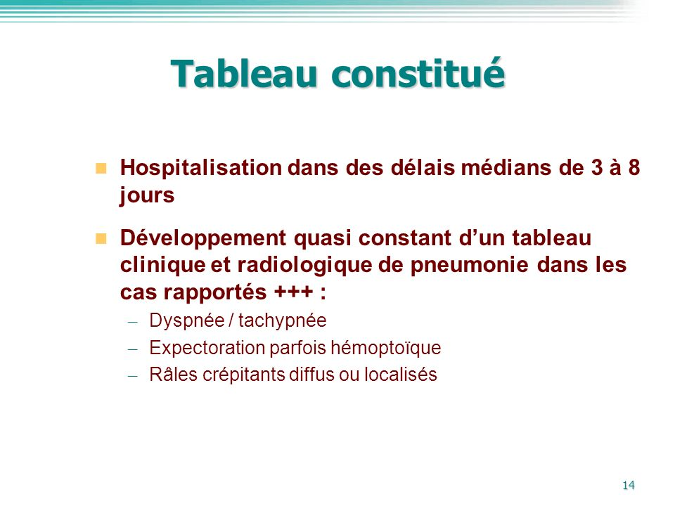 Tableau constitué Hospitalisation dans des délais médians de 3 à 8 jours.