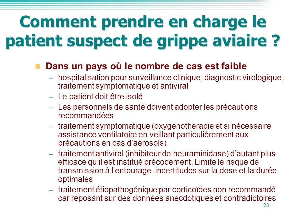 Comment prendre en charge le patient suspect de grippe aviaire