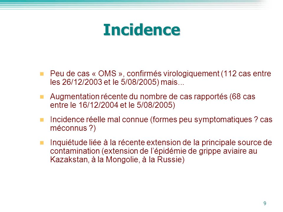 Incidence Peu de cas « OMS », confirmés virologiquement (112 cas entre les 26/12/2003 et le 5/08/2005) mais...