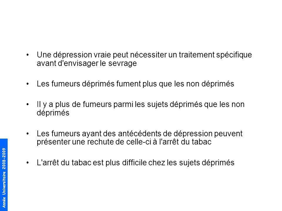 Une dépression vraie peut nécessiter un traitement spécifique avant d envisager le sevrage
