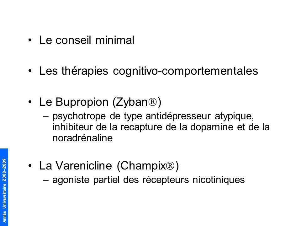 Les thérapies cognitivo-comportementales Le Bupropion (Zyban)