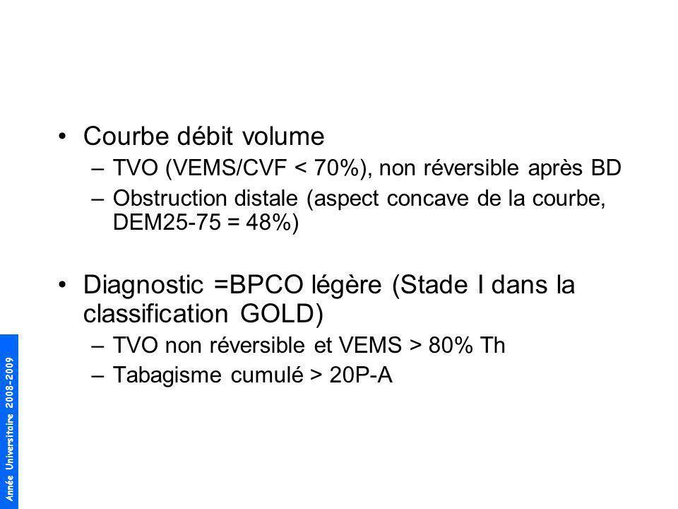 Diagnostic =BPCO légère (Stade I dans la classification GOLD)