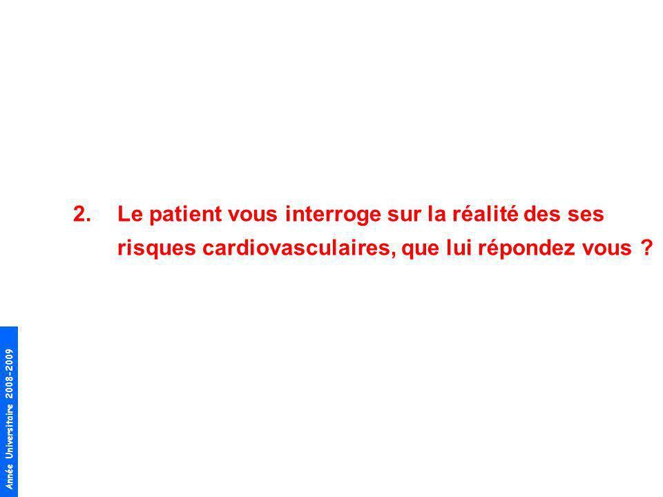 Le patient vous interroge sur la réalité des ses risques cardiovasculaires, que lui répondez vous