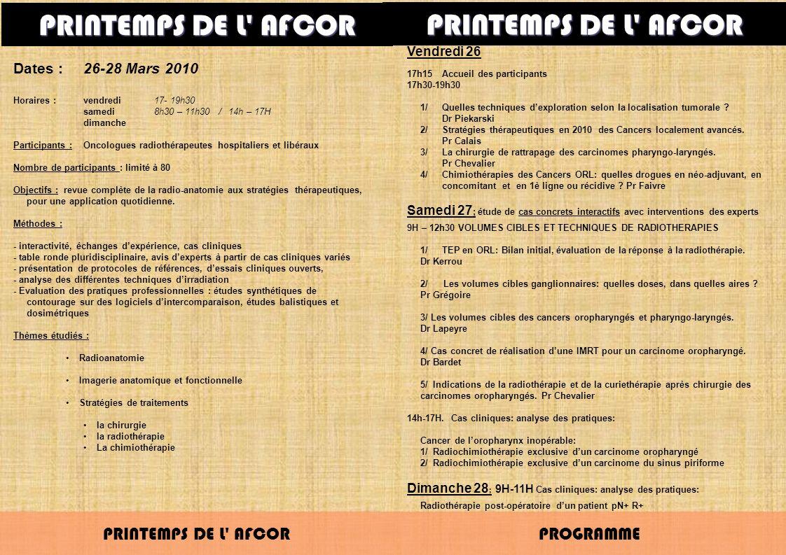 PRINTEMPS DE L AFCOR PRINTEMPS DE L AFCOR PRINTEMPS DE L AFCOR