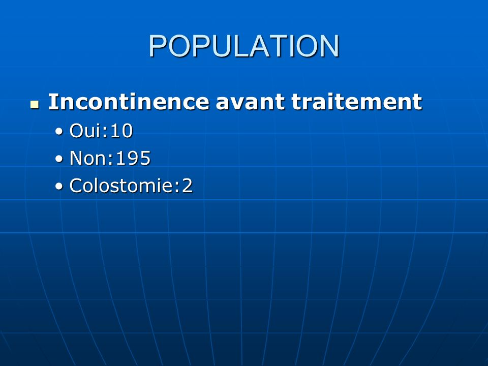 POPULATION Incontinence avant traitement Oui:10 Non:195 Colostomie:2