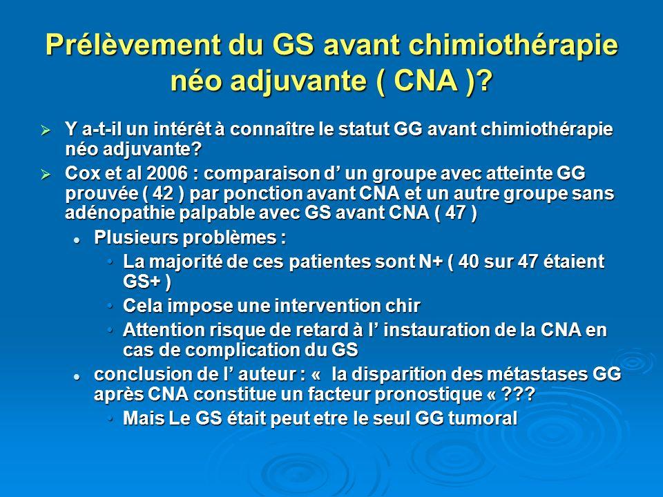 Prélèvement du GS avant chimiothérapie néo adjuvante ( CNA )