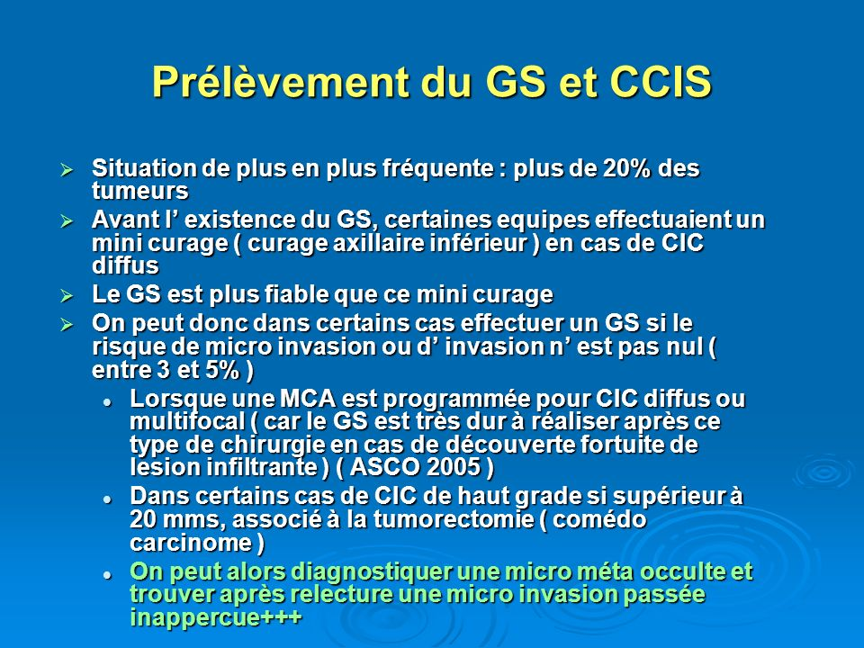 Prélèvement du GS et CCIS