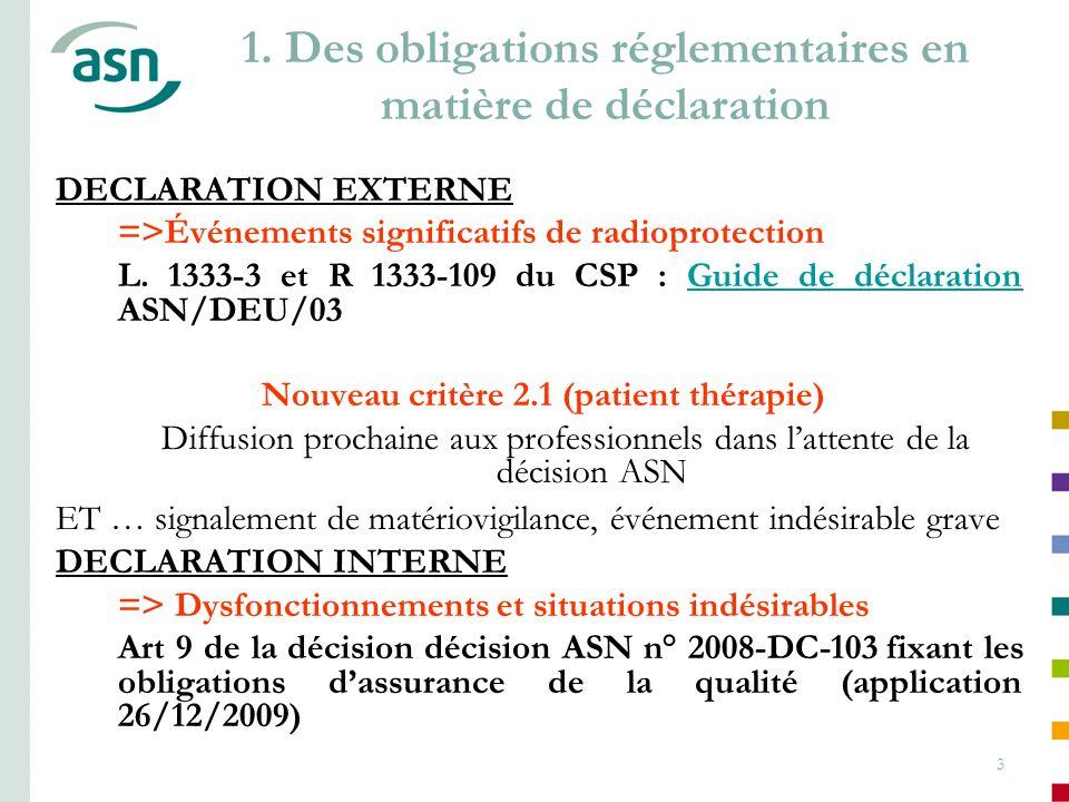 1. Des obligations réglementaires en matière de déclaration