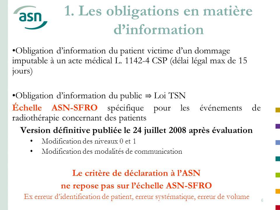 1. Les obligations en matière d'information