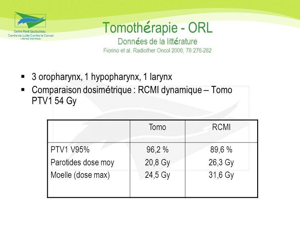 Tomothérapie - ORL Données de la littérature Fiorino et al