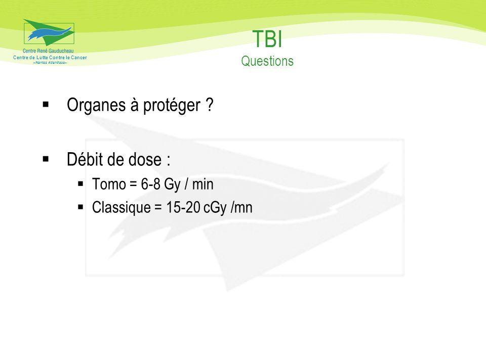 TBI Questions Organes à protéger Débit de dose : Tomo = 6-8 Gy / min