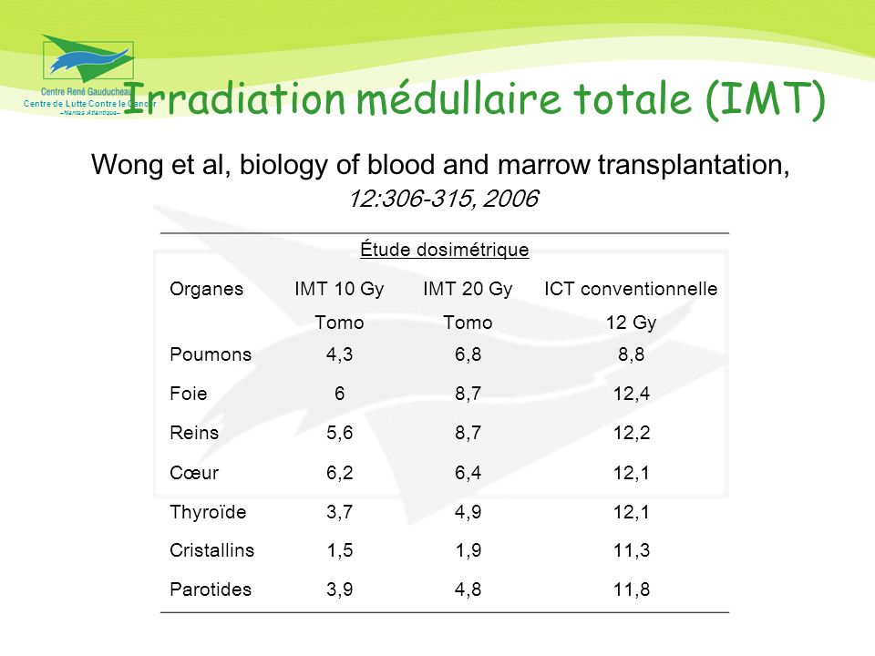Irradiation médullaire totale (IMT)