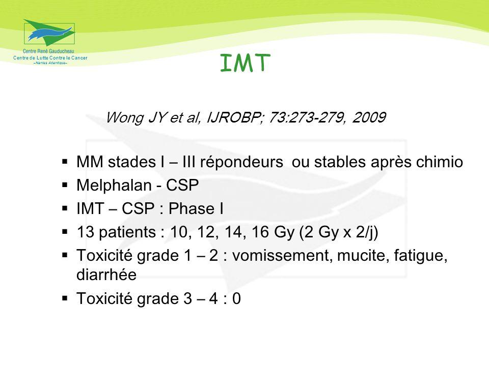 IMT MM stades I – III répondeurs ou stables après chimio