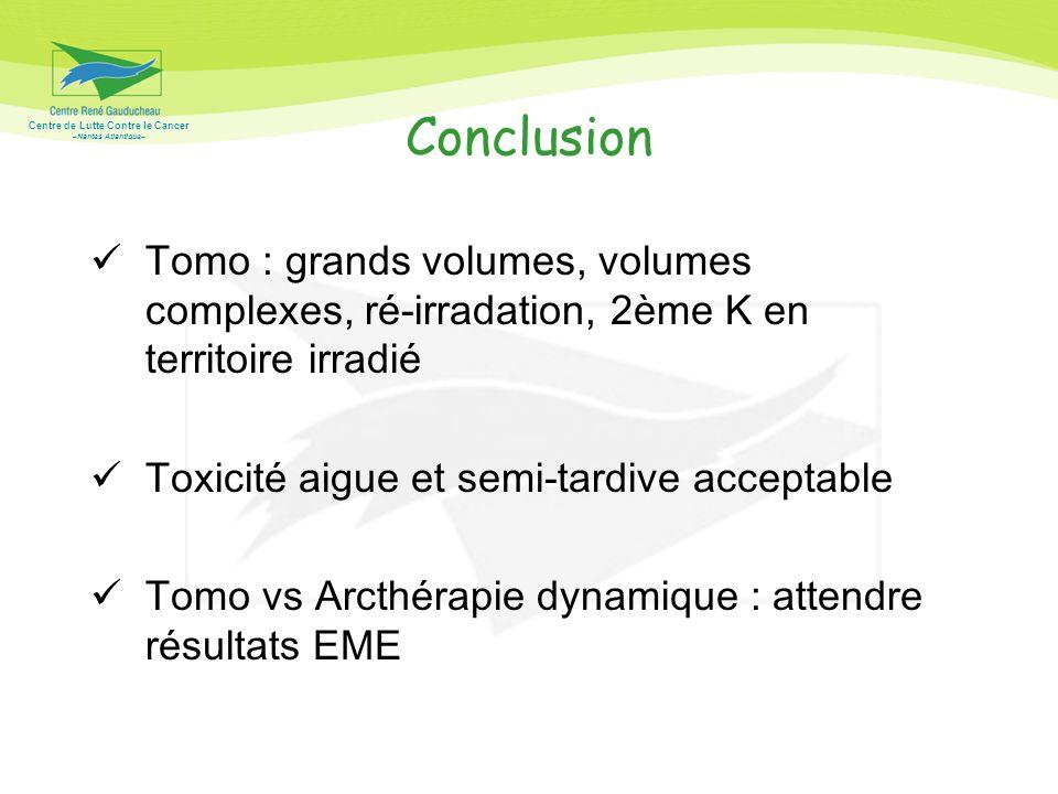 Conclusion Tomo : grands volumes, volumes complexes, ré-irradation, 2ème K en territoire irradié. Toxicité aigue et semi-tardive acceptable.