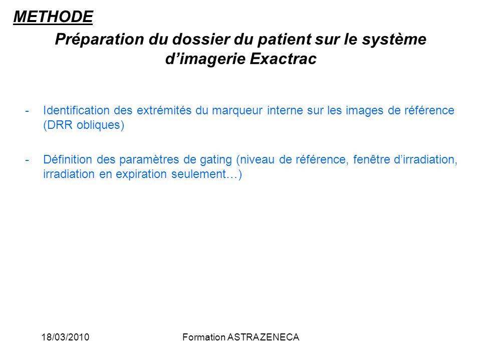 Préparation du dossier du patient sur le système d'imagerie Exactrac