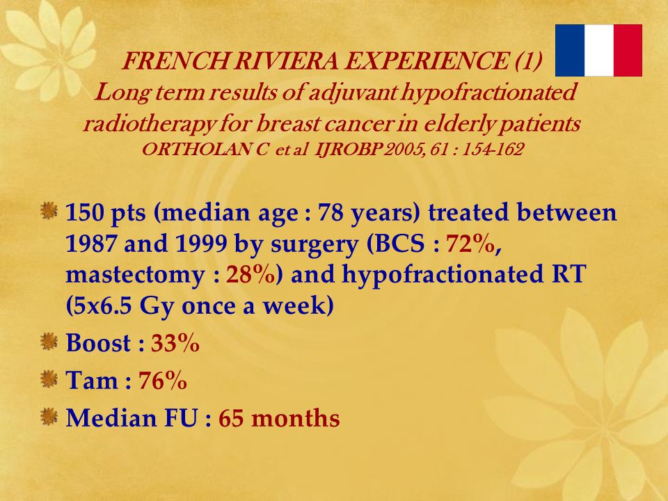 FRENCH RIVIERA EXPERIENCE (1) Long term results of adjuvant hypofractionated radiotherapy for breast cancer in elderly patients ORTHOLAN C et al IJROBP 2005, 61 : 154-162