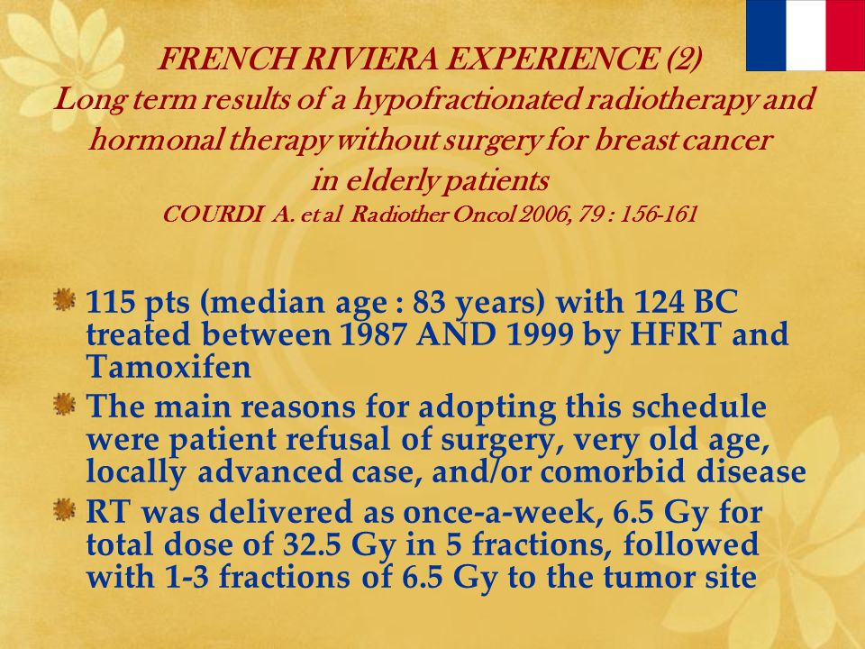 FRENCH RIVIERA EXPERIENCE (2) Long term results of a hypofractionated radiotherapy and hormonal therapy without surgery for breast cancer in elderly patients COURDI A. et al Radiother Oncol 2006, 79 : 156-161