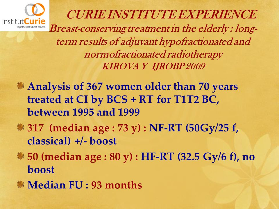 CURIE INSTITUTE EXPERIENCE Breast-conserving treatment in the elderly : long-term results of adjuvant hypofractionated and normofractionated radiotherapy KIROVA Y IJROBP 2009