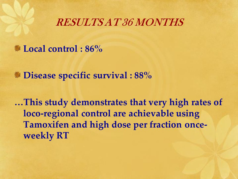 RESULTS AT 36 MONTHS Local control : 86%