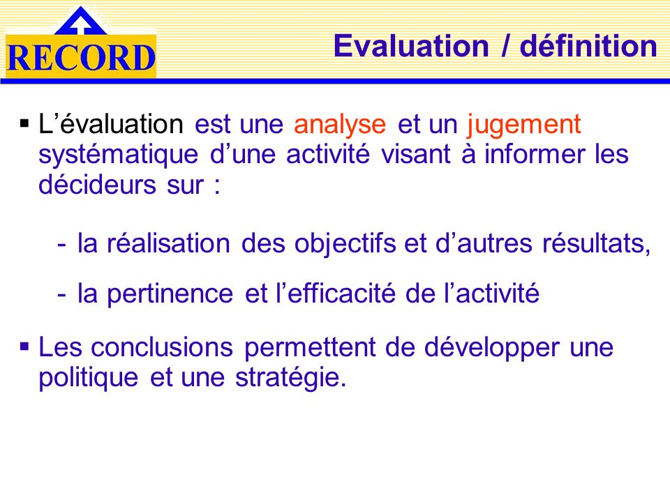 Evaluation / définition