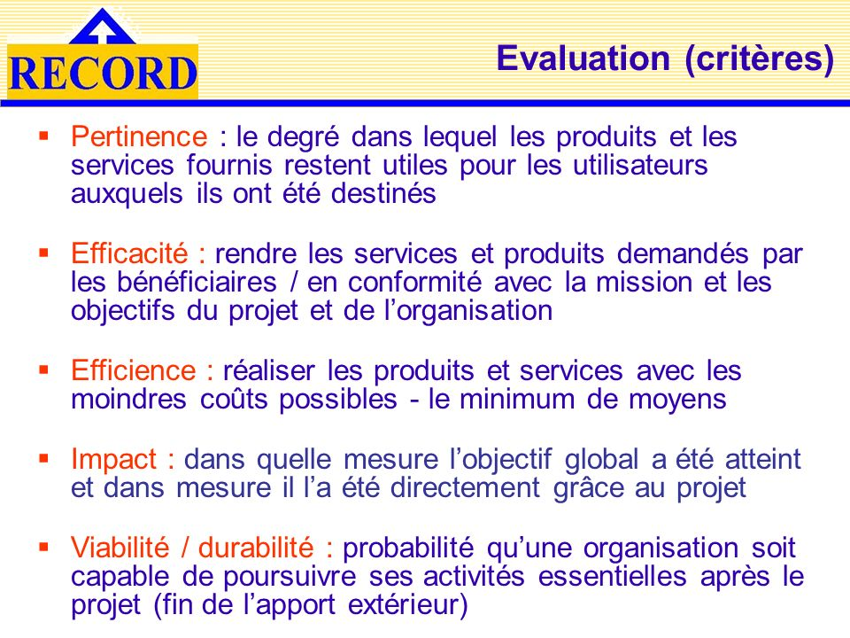 Evaluation (critères)