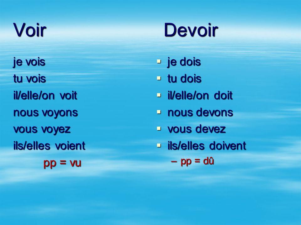 Voir Devoirje vois tu vois il/elle/on voit nous voyons vous voyez ils/elles voient pp = vu je dois.