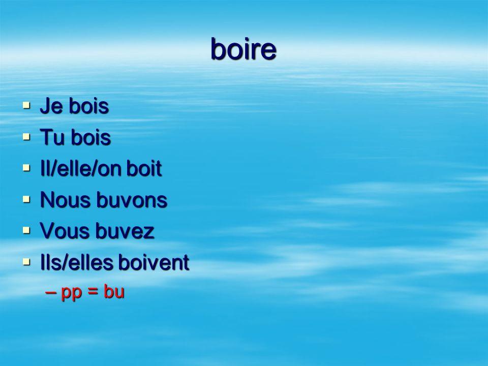 boire Je bois Tu bois Il/elle/on boit Nous buvons Vous buvez