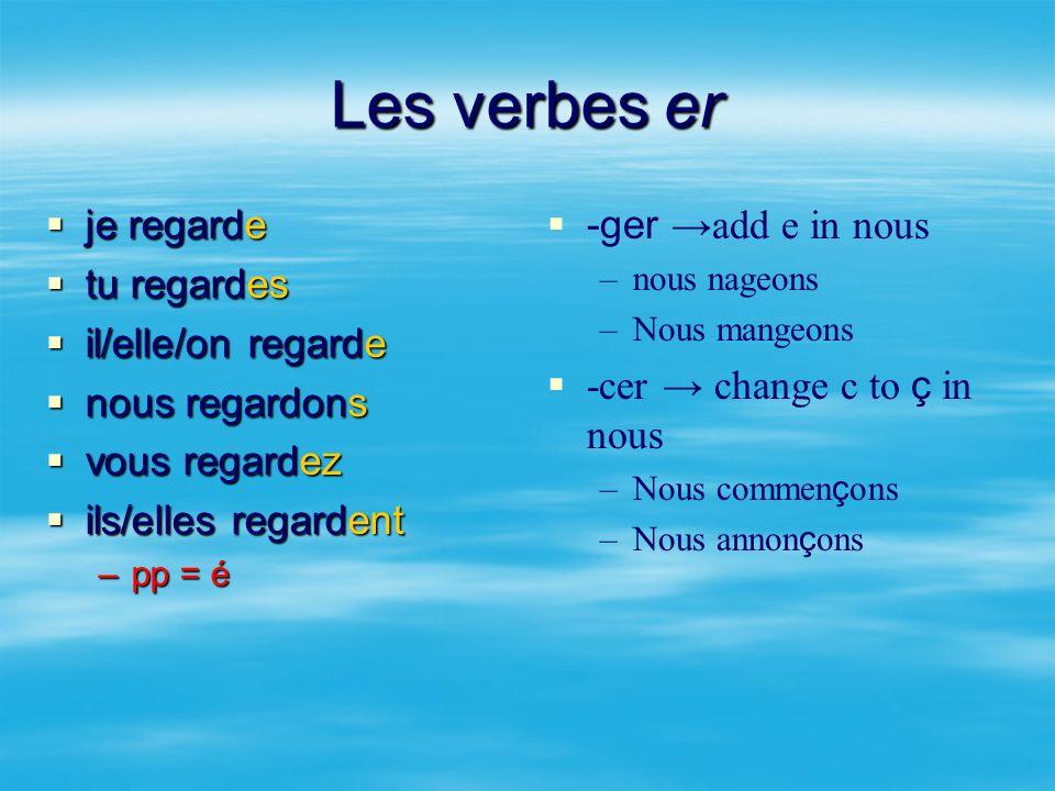 Les verbes er je regarde tu regardes il/elle/on regarde nous regardons