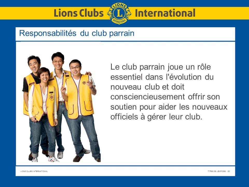 Responsabilités du club parrain