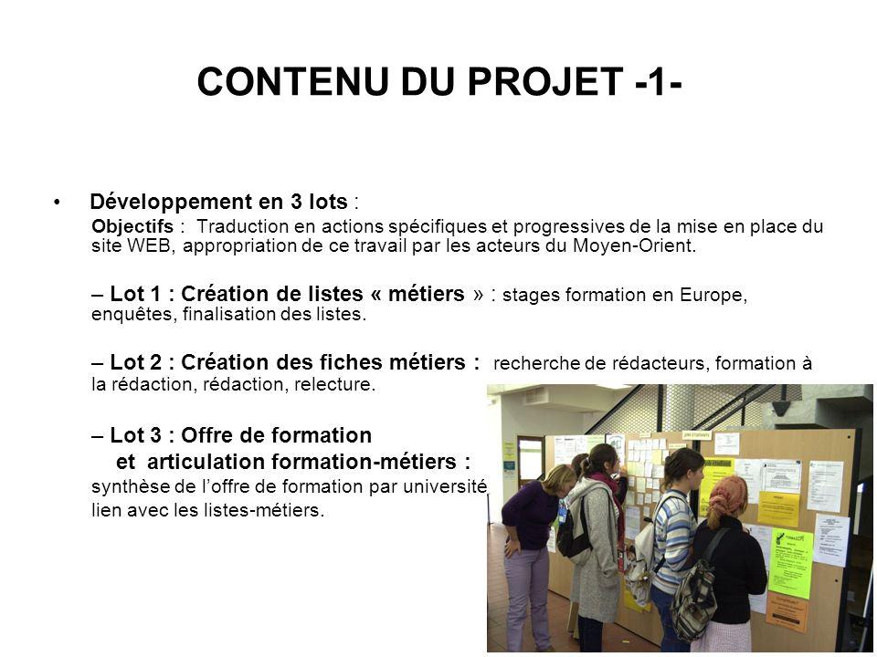 CONTENU DU PROJET -1- Développement en 3 lots :