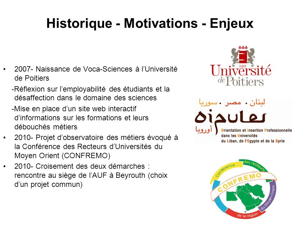 Historique - Motivations - Enjeux