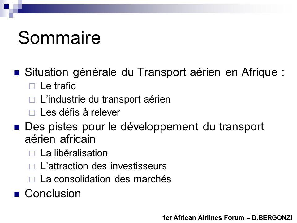 Sommaire Situation générale du Transport aérien en Afrique :