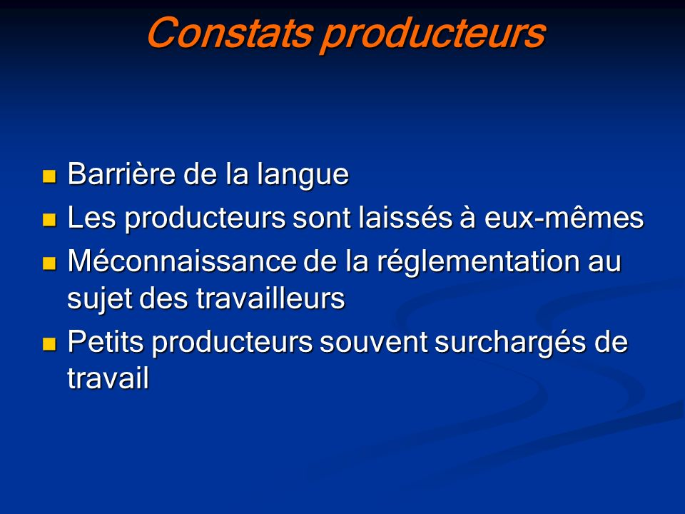 Constats producteurs Barrière de la langue