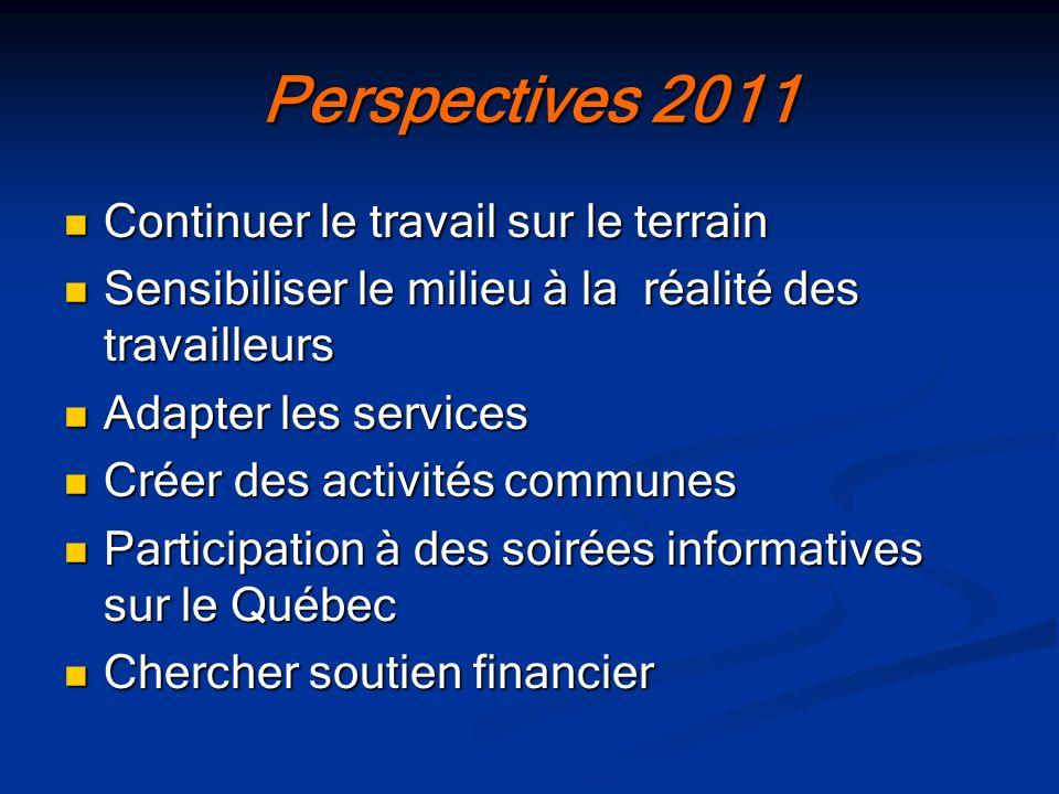 Perspectives 2011 Continuer le travail sur le terrain
