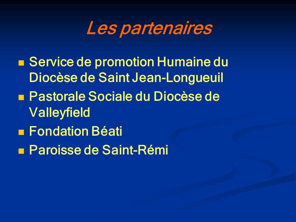 Les partenaires Service de promotion Humaine du Diocèse de Saint Jean-Longueuil. Pastorale Sociale du Diocèse de Valleyfield.