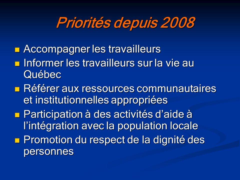 Priorités depuis 2008 Accompagner les travailleurs